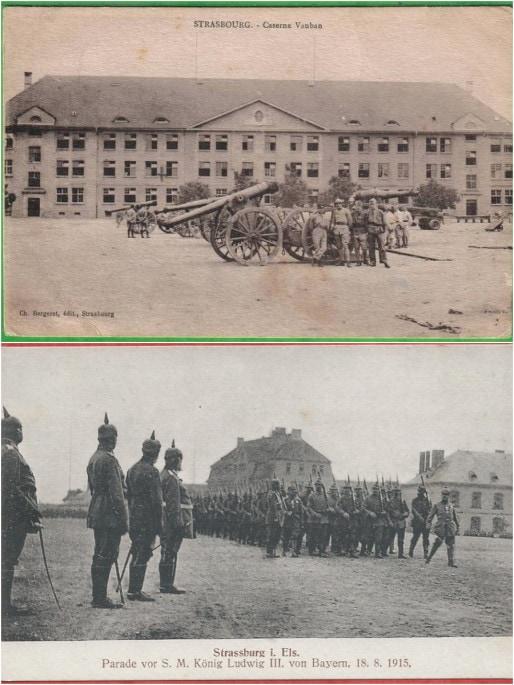 Vers 1915, pendant la 1ère Guerre mondiale, troupes allemandes sur l'esplanade (Delcampe)