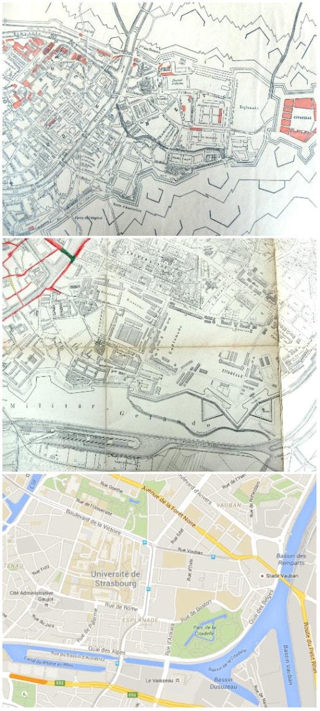 L'Esplanade avant 1870, fin XIXème sous le Reichland, et aujourd'hui (Collage MM)
