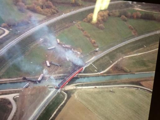 Une vue aérienne de l'accident (Photo F3 Alsace / Twitter)