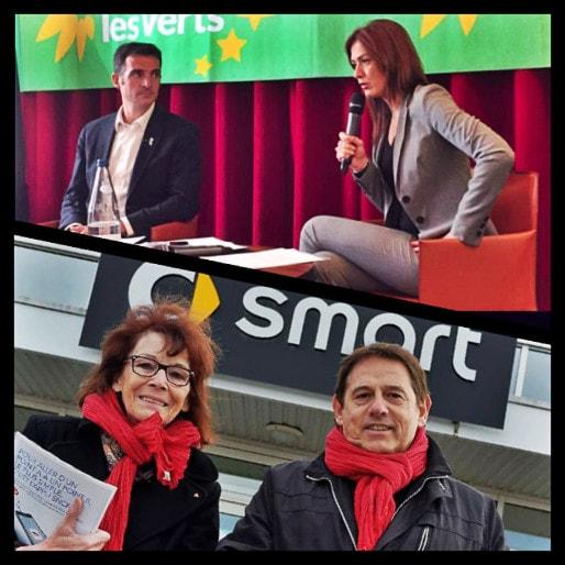 Sans accord électoral, la candidate d'EELV Sandrine Bélier et celui du Front de gauche Patrick Peron bataillent pour la quatrième place des élections régionales (photos équipes de campagne)