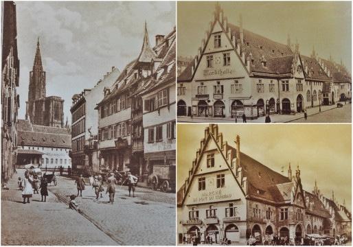 """La douane devient une halle entourée d'échoppes dans le courant du XIXème siècle - """"Markthalle"""" sous le Reich, puis """"Marché du pont du Corbeau"""" dans l'Entre-deux-guerres - Vue verticale : perspective par la rue d'Or, avant le percement de la rue de la Première-Armée (Source Roger Forst """"Il état une fois Strasbourg"""")"""