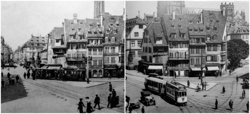 """Place du Corbeau, avant démolition des maisons situées sur le quai des Bateliers face aux ancienne boucheries (Source : Roger Forst, """"Il était une fois Strasbourg)"""
