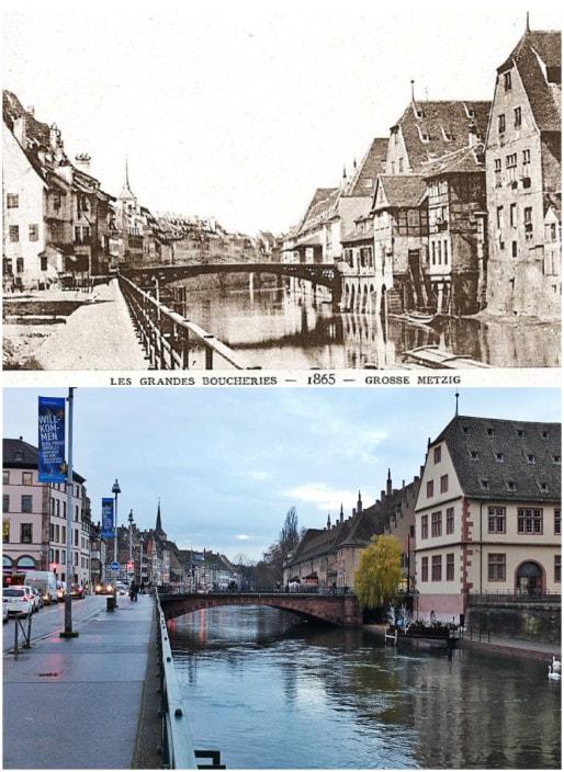 Le pont du Corbeau en 1865 (Archi-Strasbourg) - Même vue en 2015, les maisons à gauche, côté Bateliers, ont disparu (Photo MM / Rue89 Strasbourg)