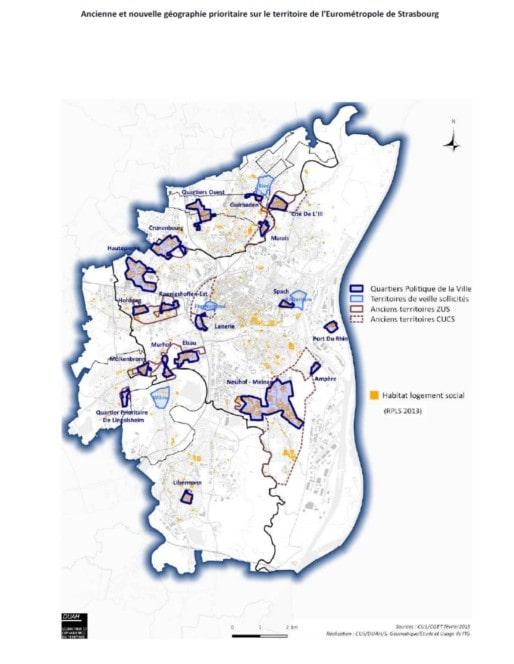 Strasbourg et l'évolution des quartiers prioritaires de la ville. (CUS/DUAH/S.Géomatique/Etude et Usage de l'IG/cadre du contrat de ville de l'Eurométropole/cc)