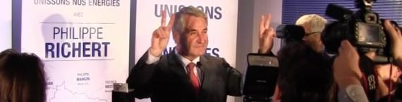Philippe Richert, dimanche soir devant les militants Les Républicains (Photo EJ / Rue89 Strasbourg)