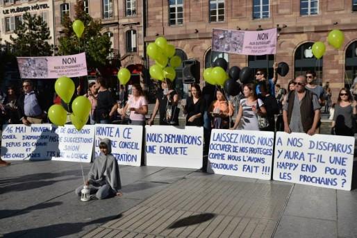 En octobre 2014, ERA protestait, place Kléber, contre la gestion de la SPA (Document remis)