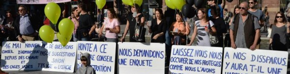 En octobre 2014, ERA manifestait place Kléber contre la gestion de la SPA