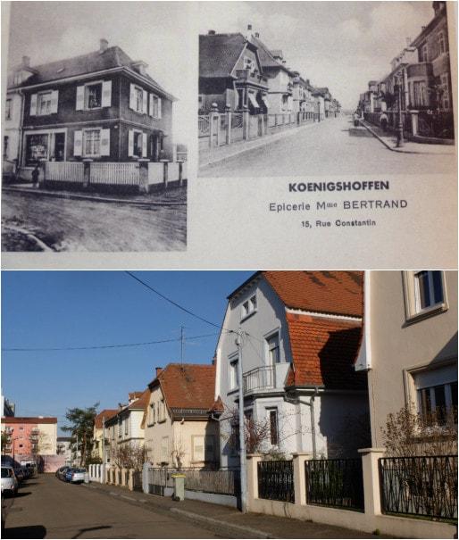 """Rue Constantin dans le quartier des empereurs (Carte postale in """"Kœnigshoffen, un faubourg de Strasbourg"""" par Paul-Antoine Dantès / Photo MM)"""
