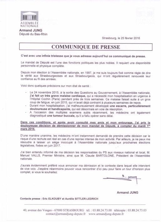 Le député Armand Jung détaille ses raisons dans son communiqué - cliquez pour l'afficher en plus grand (doc remis)