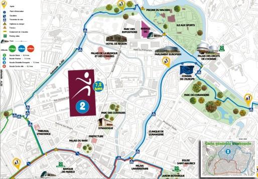 La boucle 2 de 7,2 kilomètres autour des institutions européennes. (document Ville de Strasbourg)