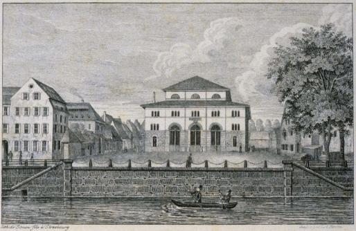 Halles aux blés, construite en 1830 (Doc. BNUS, cité par ArchiWiki)