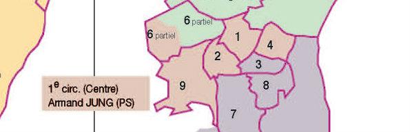 La première circonscription du Bas-Rhin s'étend d'du centre à l'ouest de Strasbourg (document préfecture du Bas-Rhin)