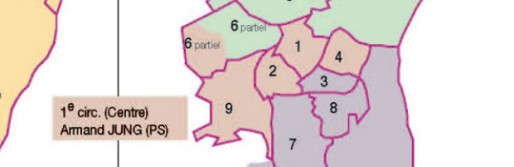 En rose, la première circonscription du Bas-Rhin.
