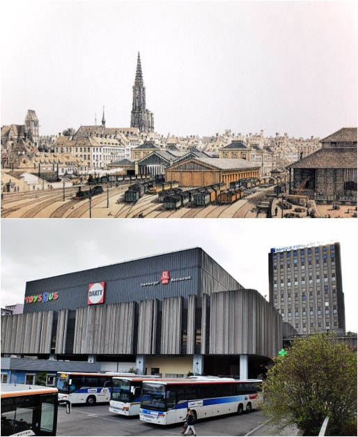 """L'arrière de l'ancienne gare au Marais Vert (In """"Il était une fois Strasbourg"""", Roger Forst, Coprur, 2010) - La gare routière place des Halles aujourd'hui, au même emplacement (Photo MM / Rue89 Strasbourg)"""