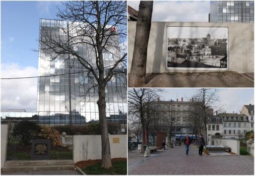 A l'emplacement de la synagogue incendiée, un square du souvenir avec des stèles (Photos MM / Rue89 Strasbourg)