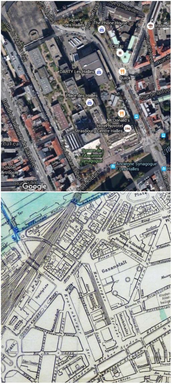 Plan du secteur des Halles (Google map) - Plan de 1914 (Archives Strasbourg citées par ArchiWiki)