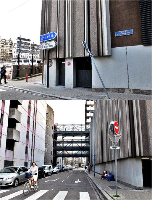 Rue de l'Ancienne-Gare, entre le centre commercial et le parking P3 (Photos MM / Rue89 Strasbourg)
