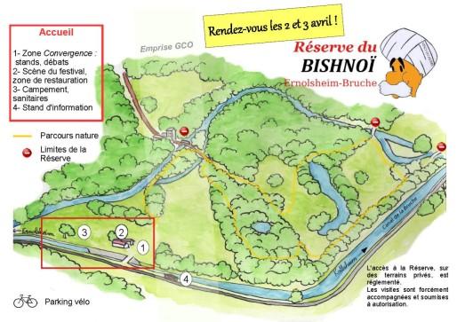 Le long du canal de la Bruche le festival du Bishnoï se déroule sur un espace naturel où va passer la GCO (document organisateurs)