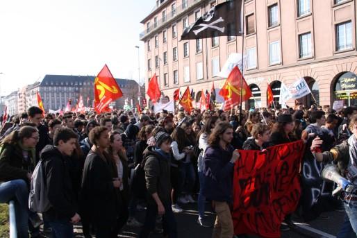 Environ 1500 personnes ont défilé dans les rues de Strasbourg (Photo MCM / Rue89 Strasbourg)