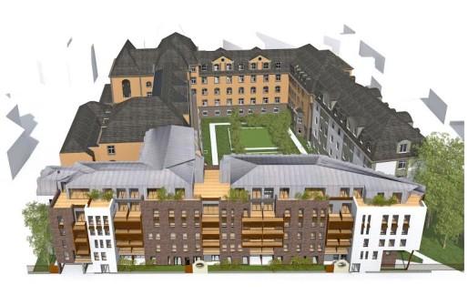 Vu d'ensemble du site de Sainte Odile après travaux, avec les logements neufs de Scharf Immobilier et Vauban Immobilier au premier plan. (Doc remis)