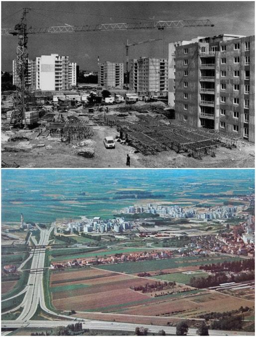 Hautepierre au milieu des années 1970, des tours en construction au milieu des champs (en haut, auteur inconnu, cité ar ArchiWiki ; en bas, Archives Strasbourg, 1976)