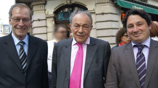 Armand Jung (à g.) et Eric Elkouby (à d.) ont souvent mis en avant leur proximité avec l'ancien Premier ministre Michel Rocard (Photo Pierre Dubois / Histoires d'Universités)