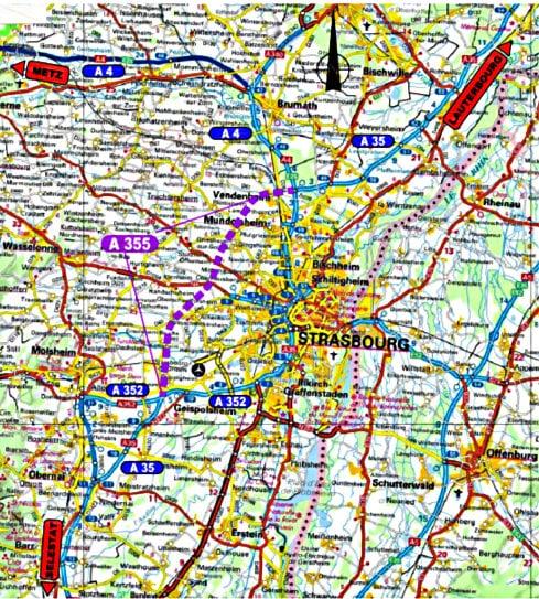 Le dernier plan de situation. Le GCO est en violet, sur une longueur de 24 kilomètres. (document officiel)