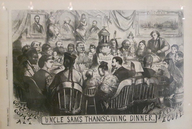 """Uncle Sam's thanksgiving dinner"",1869 (Photo JD / Rue89 Strasbourg / cc)"
