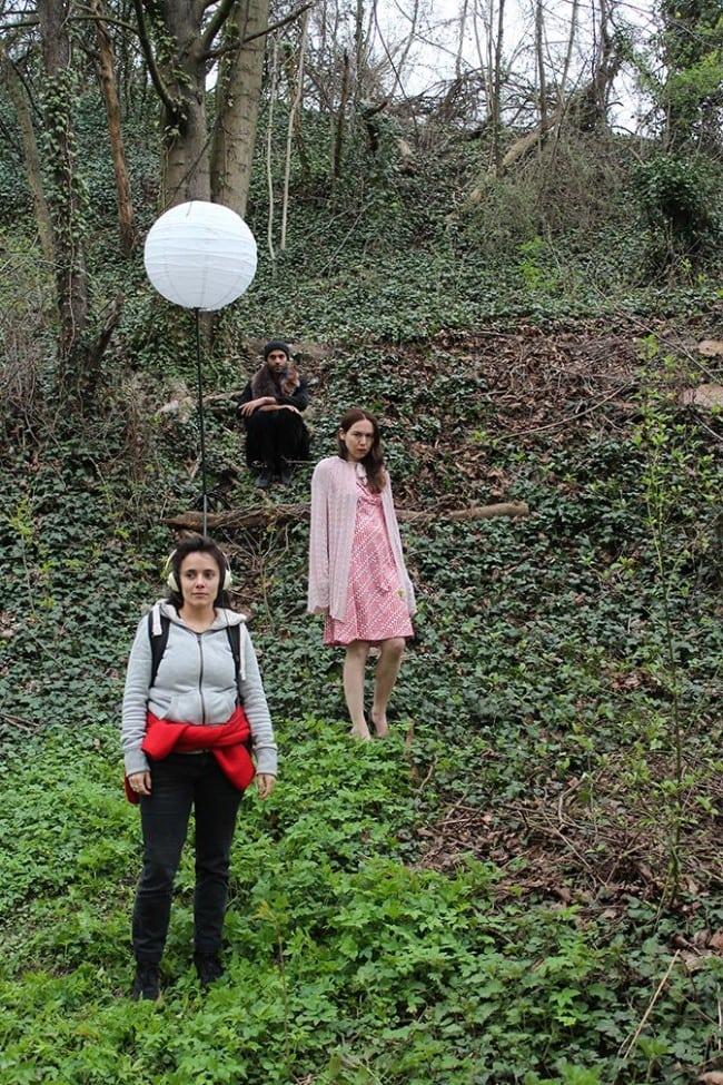 De haut en bas : Joaquim Pavy, Laure Werckmann et Adèle Zouane, les trois comédiens de la pièce (Photo Solène Sourt / TNS / cc)