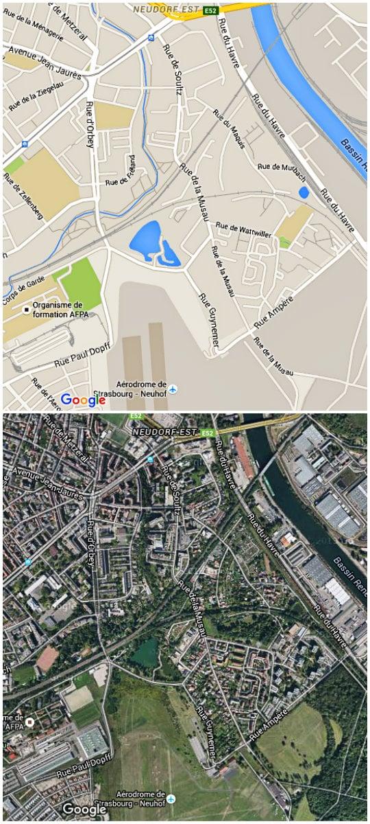 Plan du quartier de la Musau, avec comme épine dorsale les rues de Soultz et de la Musau (Google map)