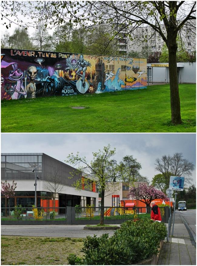La cité et l'école Ampère ont été rénovés au début des années 2010 (Photos MM / Rue89 Strasbourg)