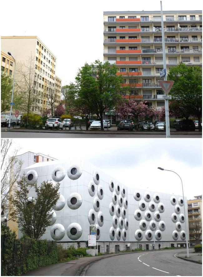Rue de Soultz, un ensemble de logements privés et le nouveau foyer Adoma (Photos MM / Rue89 Strasbourg)