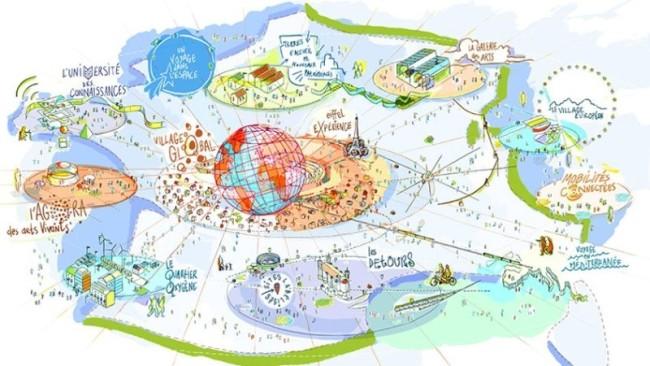 Présentation de l'aménagement du territoire dans le cadre de l'Exposition universelle 2025 (Crédit photo : Sensual City Studio)