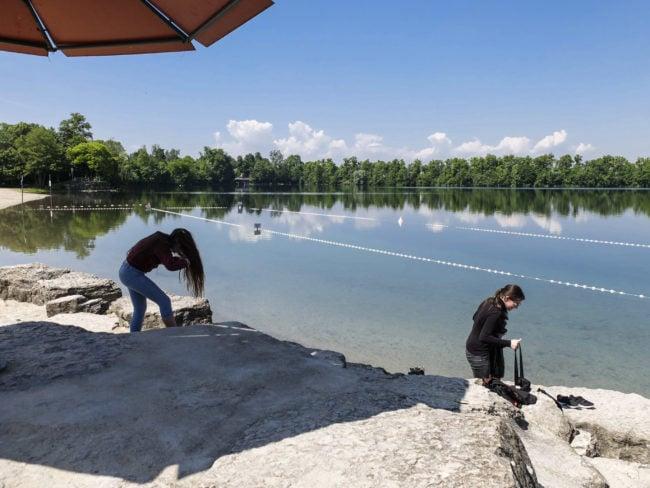 La baignade est surveillée tout l'été sur le plan d'eau du Baggersee (Photo Pascal Bastien)