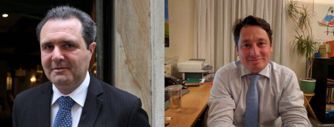 Jean-Emmannuel Robert et Eric Elkouby, deux quadragénaires pour devenir député de Strasbourg pour un an. Et plus si affinités. (photo JFG et PF / Rue89 Strasbourg)