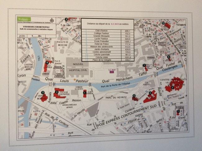 L'emplacement de la future salle de consommation à moindre risque, au milieu de la carte de l'hôpital civil (photo JFG / Rue89 Strasbourg)