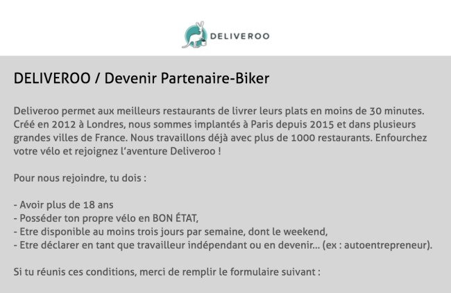 Capture d'écran du site Deliveroo France (Deliveroo France)