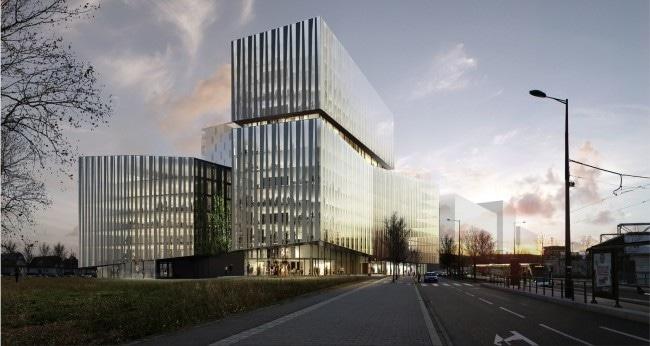 Adidas et le Crédit Mutuel s'installeront dans ce bâtiment (vue de la façade sud) construit par une filiale de Bouygues (doc remis / Linkcity)