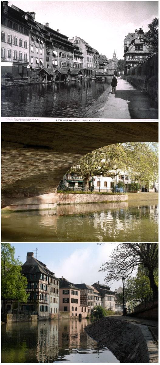 Canal de la navigation, entre les quai de la Bruche et quai de la Petite-France, à droite (Carte postale Delcampe - Photos MM / Rue89 Strasbourg)