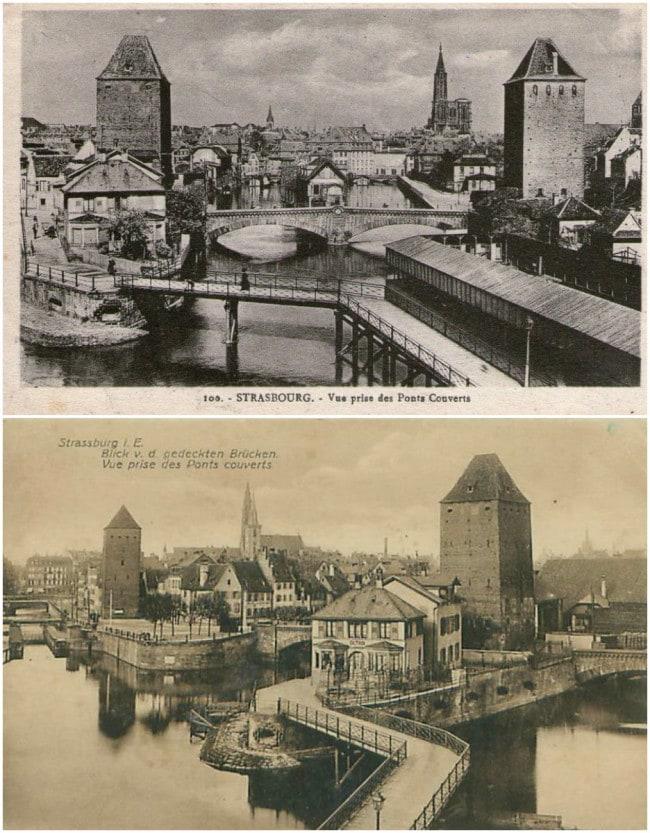 La passerelle de la Grande Ecluse reliait les Ponts couverts au quai Mathiss (Cartes postales Delcampe)