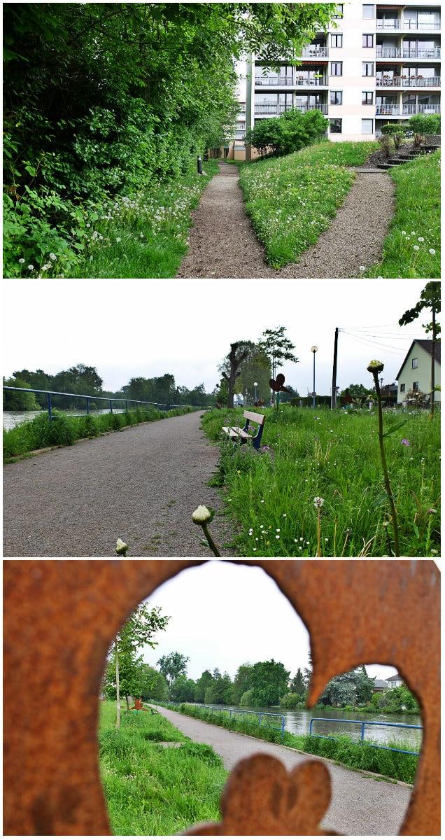 Sentier privé, ouvert au public, le long de l'Ill et quai de l'Ill (Photos MM / Rue89 Strasbourg)
