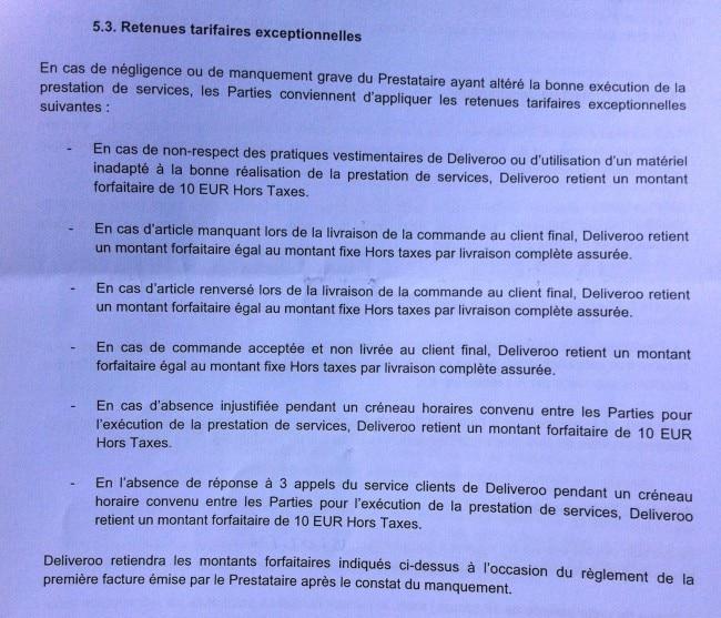 Extrait du contrat proposé par Deliveroo à ses prestataires