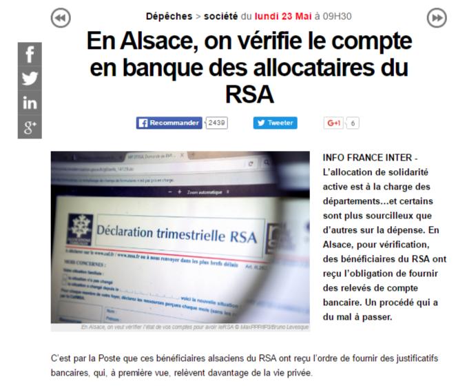 Le Haut-Rhin demande à son tour les comptes bancaires des bénéficiaires du RSA
