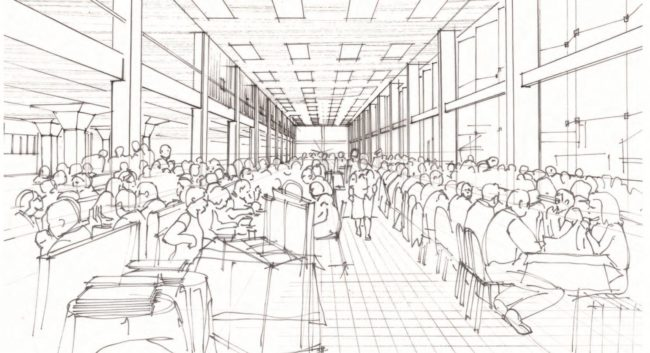 La grande brasserie pourrait accueillir plus de 1000 couverts (dessin Alexandre Chemetoff / doc remis)