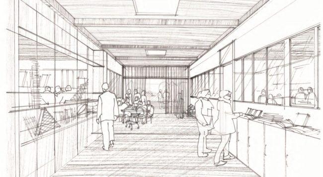 """... et comment Alexandre Chemetoff voir la suite, en """"atelier des métiers"""" (dessin Alexandre Chemetoff / doc remis)"""