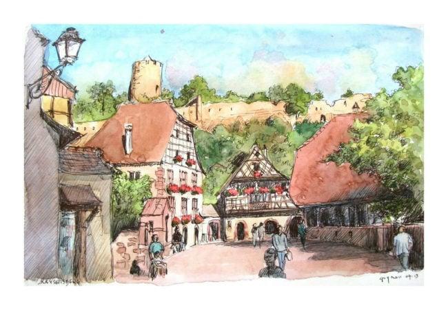 Village paisible du Haut-Rhin, Kaysersberg a vécu quelques semaines agitées (aquarelle Guy Moll / Flickr / cc)