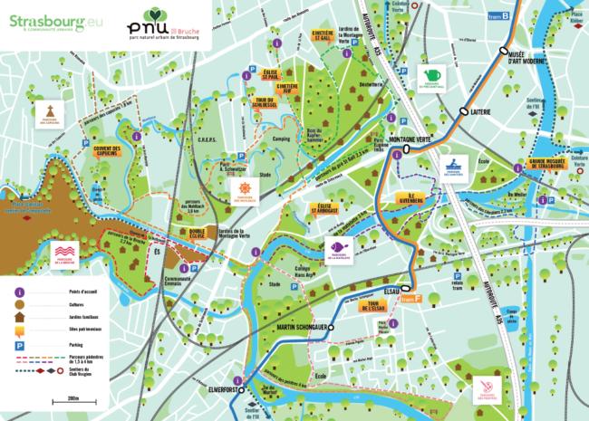 Carte des parcours de balades dans le PNU Ill-Bruche (Doc. Ville de Strasbourg)