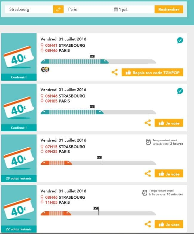 Capture d'écran du service TGV pop le mardi 28 juin.