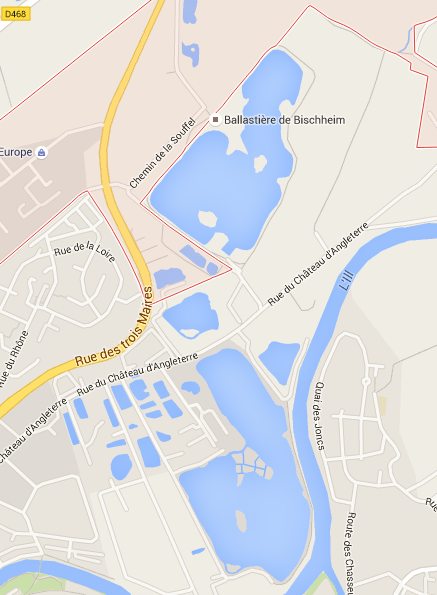 Le parking du plan d'eau de la Ballastière est situé à Bischheim, l'étang en lui-même à Schiltigheim (Capture Google map)