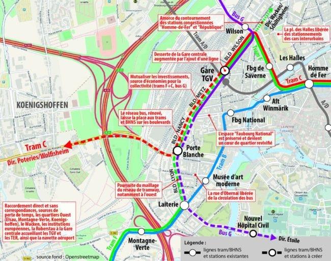 Le tracé proposé par le collectif pour le tram à Koenigshoffen (doc remis)